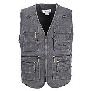 LUSI MADAM Men's Stone Washed Denim Multi-pocketed Fishing Vest US M/Asia 2XL Black