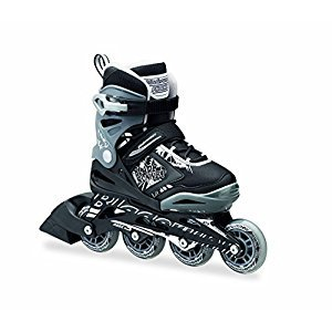PHOENIX - 4 Size Adjustable Junior Skate 2016 , Black/Silver Flash, 1 to 4 Adjustable