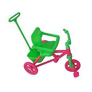 Pink & Green Kids Tricycle with Push Handle for Dolls