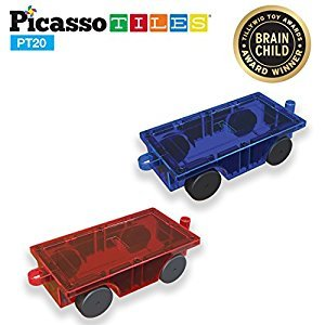 PicassoTiles¨ 2 Piece Car Truck Set w/ Extra Long Bed & Re-Enforced Latch, Magnet Building Tile Magnetic Blocks -Creativity Beyond Imagination! Educational, Inspirational, Conventional,& Recreational!