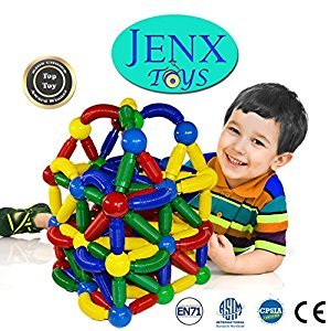 Jenx Toys Magnetic Thread 60 pcs Rods and Balls Building Blocks | Construction Stacking Building Set for Creativity and Education | Award Winning Best Safe Toys