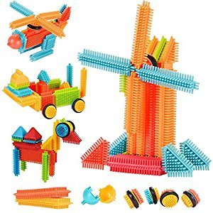 AMOSTING Building toys Blocks Building Set Educational Stacking Bath Toys for Toddlers – 150pcs with Storage Bag