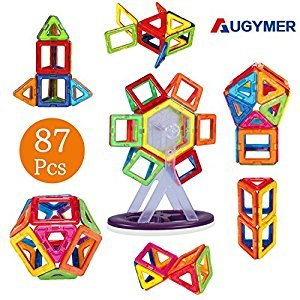 AUGYMER Magnetic Building Blocks Set, 87 Pcs Magnetic Construction Stacking Toys for Children Kids with Carry Box Letters and Numbers Toys