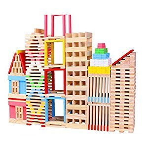 Children Wooden 150pcs Building Stacking Blocks Bricks Toy Construction Set Kids Domino Games