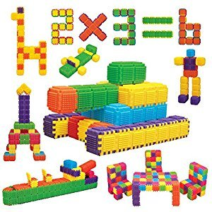 Educational Building Blocks for Child Beginner - 150 Interlocking Pieces Make Cubes, Shape and Funny Objects.