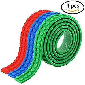 Lego Tape, Building Block Tape Roll Self-Adhesive, Block Tape Auskic 3 Rolls Loops 3.3Ft/1M Compatible with Lego, Lego Tape Roll Mega Block and Kreo