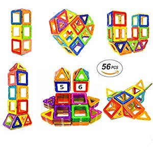 Magnetic Blocks STEM Educational Toys Magnet Building Block Tiles Set for Boys and Girls by Soyee-56pcs