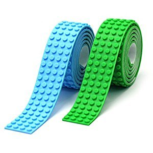 Reusable Silicone Self-Adhesive Building Block Tape, Compatible With Lego Collection Construction, Educational Inspire Imagination Toys, 4 studs (Green+Light Blue)