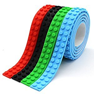 Self-Adhesive Building Blocks Tape Compatible lego Collection Construction tape 4 Rolls Red Blue Black Green