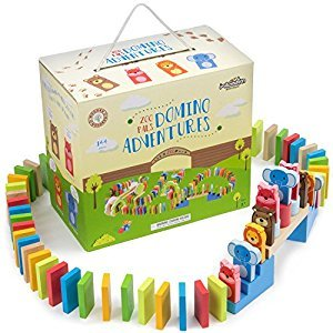 Zoo Pals Domino Rally Adventure Kids Playset, with 4 Animal Shapes, 5 Stunts, & Carrying Case (144 pieces) by Imagination Generation