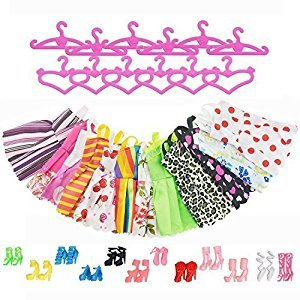 ASIV 12 Pcs Dresses, 12 Pairs of Shoes, 12 Hangers Accessories for Barbie Dolls for Girls (36 Pieces)