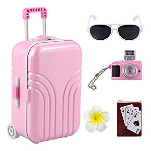 Barwa Travel Set for 18 inch American Girl Doll Luggage Flower Hair Clip Poker Card Camera Sunglasses Set Holiday for Doll American Girl