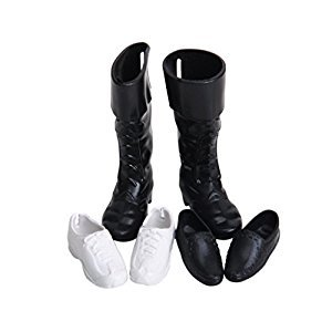3 Pairs Plastic Royal Prince Doll Shoes -White and Black