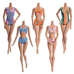 ASIV 5 Sets Handmade Summer Swimsuits, Beach Bikini, Bathing Clothes for Barbie Doll, Random Style