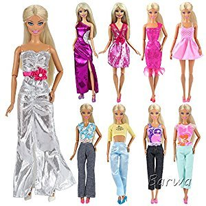 Barwa Random Style 5 Sets Fashion Casual Wear Clothes/outfit for Barbie Doll Xmas Gift