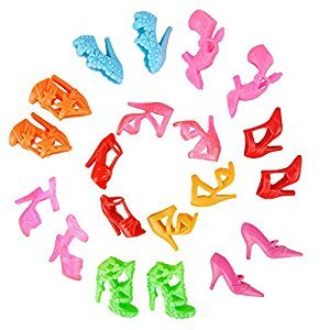 E-TING 10 Pairs Fashion Mini Shoes, Dolls Accessories Lot Random Style for Barbie Doll (Multicolored)