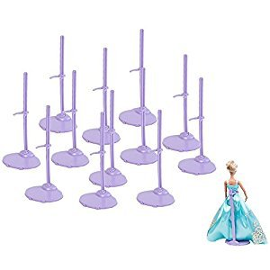 E-TING 12pcs Stand Holder Doll Clothing Support Frame Model Prop up for Barbie Dolls (Purple)