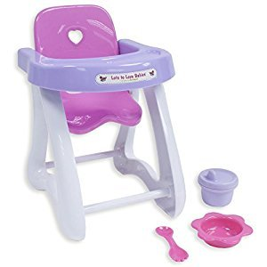 "JC Toys 81433 4-Piece Small Baby Doll Highchair Gift Set fits Small dolls up to 11"" dolls - Ages 2+ - Designed by Berenguer"