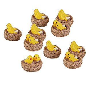 10pcs Miniature Dollhouse Bonsai Fairy Garden Landscape Yellow Bird Decor