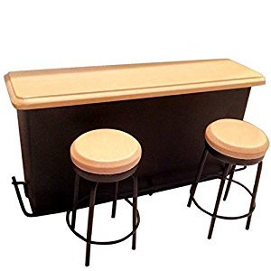BESTLEE 1:12 Dollhouse Kitchen Furniture Pub Bar Table with Two Stools