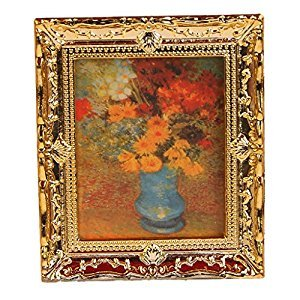 Golden Plastic Frame Flower Oil Painting 1:12 Miniature Dollhouse Furniture
