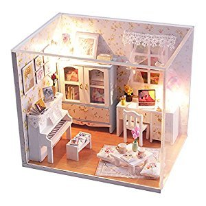 Lanlan Dollhouse Miniature DIY House Kit Wood Cute Room with LED Furniture and Cover Girl Gift Toy, Summer Flower