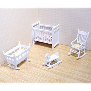 Melissa & Doug Classic Wooden Dollhouse Nursery Furniture (4 pcs) - Crib, Basinette, Rocker, Rocking Horse