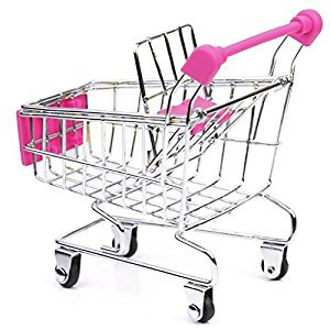 Mini Supermarket Shopping Cart Trolley Toy Home Office Storage Box Children Bird Parrot Pet Toy Birthday Gift Stationary Holder Rose