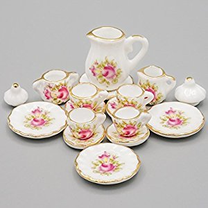 Odoria 1:12 Miniature 15PCS Porcelain Tea Cup Set Pink Rose Chintz with Gold Trim Dollhouse Kitchen Accessories