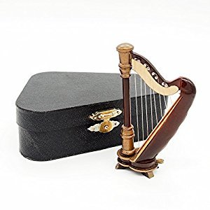 Odoria 1:12 Miniature Wooden Harp with Black Case Music Instrument Dollhouse Accessories
