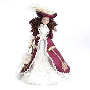 SODIAL(R) 1:12 Miniature porcelain doll house dolls Senora clasica with sombrero 1pz