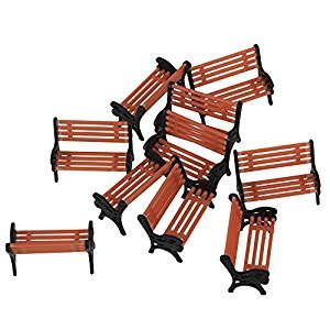 WEONE Black and Orange Model Bench Chair 1:75 Scale Train Platform Garden Park Street Scenery Layout (Pack of 10)