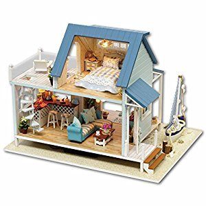 DIY Wooden Dollhouse Handmade Miniature Kit- LED Beach villa Model & Furniture/Music box