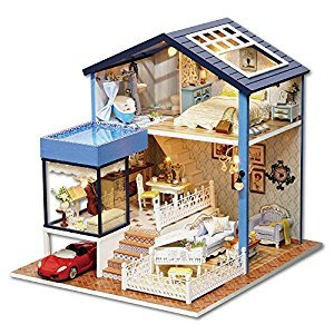 DIY Wooden Dollhouse Handmade Miniature Kit- LED Seattle House Model & Furniture/Music box