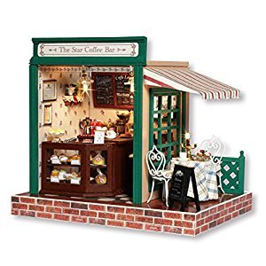 DIY Wooden Miniature Dollhouse Kit--Coffee Bar Model with Furniture/Food/LED Light/Music box