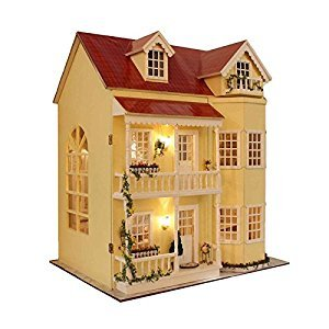 DIY Wooden Miniature Dollhouse Kit--Large Villia Dollhouse & furniture LED Light Music house