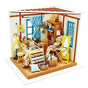 ROBOTIME DIY Wooden Miniature Dollhouse Furniture Accessories Sewing Room with LED light-Creative Toys for Boys and Girls