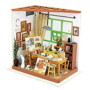 ROBOTIME DIY Wooden Miniature Dollhouse Furniture Accessories Studio with LED light -Creative Toys for Boys and Girls