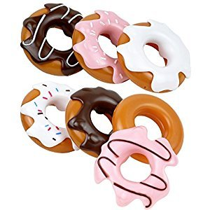 Click N' Play CNP84446 Set of 6 Assorted Pretend Play Donuts Set with Removable Icing, Sprinkle Toppings