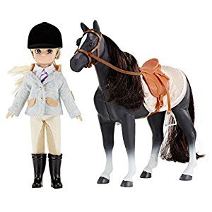Doll Set by LOTTIE LT054 Pony Club Doll Set with Horse | Dolls - Clothes - Accessories - Collectible | Inspired by real kids! 7 Inch 18 cm Doll With Blond Hair And Blue Eyes & Pony with Black Hair