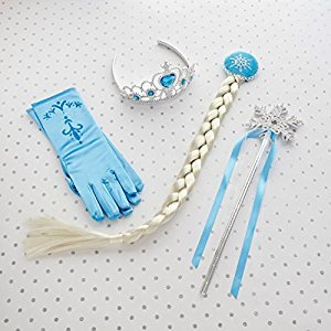 Frozen Elsa Princess Tiara Snowflake Wand Braid Hair Piece and Blue Gloves Set