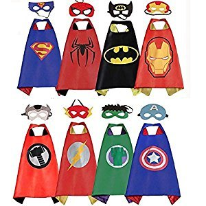 LansKids Comics Cartoon Heros Dress Up Costumes 8 Satin Capes with Felt Masks 8pcs