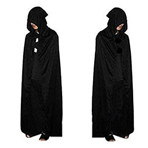 Black Unisex Cloak With Hood Magic Cape Cosplay Costume For Halloween 65 Inch Long