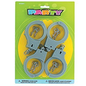 Plastic Toy Handcuffs, 4ct