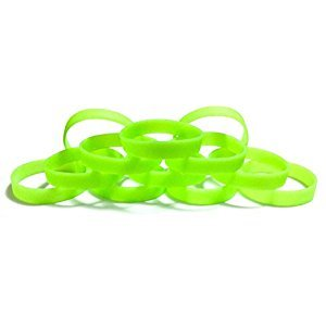 1 Dozen Multi-Pack Glow-in-the-Dark Wristbands Silicone Rubber Bracelets (Light Green Glow-in-the-Dark, Youth (7