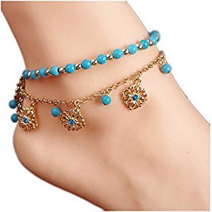 Beaded Anklets For Women, Fashion Bohemia Flower Charm Beaded Anklets For Women, Fashion Bohemia Flower Charm Tassel Chain Women's Beach Turquoise Beads Sandal Anklet 2Pcs/set