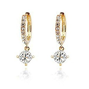 Fashion Women Crystal Rhinestone Earrings Jewelry Decoration Ear Hoop Stud Ear Clip Gold
