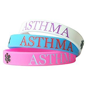 Hairyworm - 1 x Asthma Child Size Silicone Wristband (Blue Band)