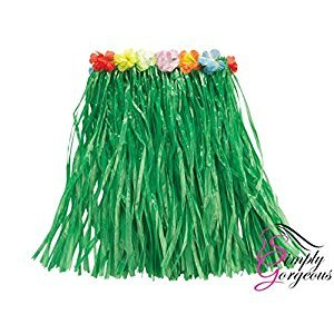 Hawaiian Grass Skirt Flower Hula Lei Garland Ladies Fancy Dress Costume - Green