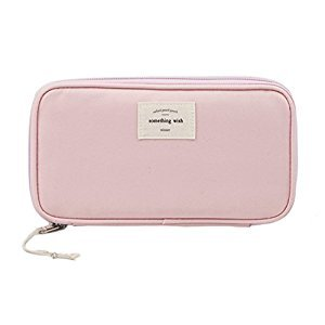 iSuperb Large Capacity Waterproof Oxford Pencil Case Stationery Pencil Pouch Bag Case Cosmetic Makeup Bag Passport Organizer Bag 8.5x4.5inch (Pink)